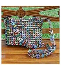 soda pop-top cosmetics shoulder bag, 'silver chic colors' (brazil)