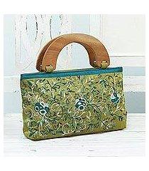 embroidered handbag, 'rose glamour' (india)