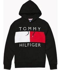 tommy hilfiger men's adaptive logo flag hoodie deep black - l