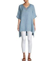 saks fifth avenue women's embellished linen tunic - white - size m