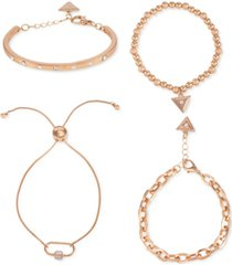 guess gold-tone 4-pc. set crystal, link & beaded bracelets