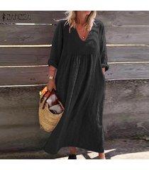 zanzea plus s-5xl vestido camisero de algodón de manga larga para mujer vestido midi liso suelto kaftan -negro