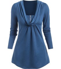 cowl neck half-zip long sleeve tunic top