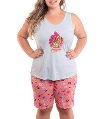 pijama victory plus size feminino de verão bermudol feminino - feminino