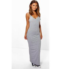 petite strappy basic maxi dress, grey marl