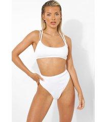 geribbeld uitgesneden bikini broekje met hoge taille hoog, white