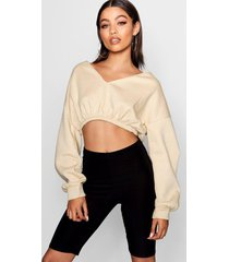 v neck crop sweater, nude