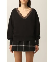 red valentino sweater red valentino sweatshirt in jersey and lace