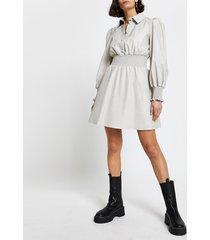 river island womens grey faux leather shirred waist shirt dress