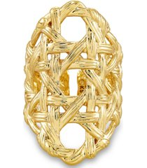 kendra scott 14k gold-plated textured adjustable cocktail ring