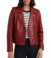women's lucky brand leather moto jacket, size medium - red