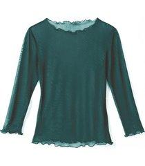 transparant zijden shirt, smaragdgroen 40