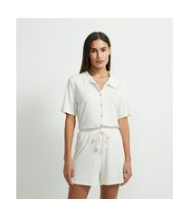 pijama americano curto em linho com botões amadeirados | lov | bege | g