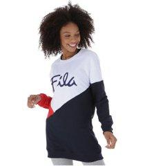 blusão de moletom fila up light - feminino - branco/azul esc