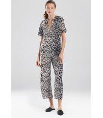 cheetah pajamas, women's, silver, size l, n natori