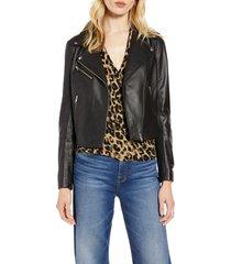 petite women's halogen leather moto jacket, size large p - black