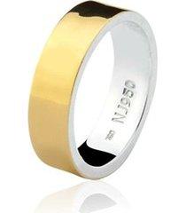 aliança mista ouro 18k e prata 925 natalia joias alm-150