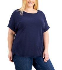 karen scott plus size cuffed-sleeve t-shirt, created for macy's