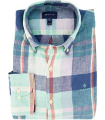 gant overhemd geruit linnen regular fit