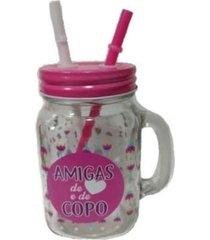 copo jarra amigas dois canudos - cor transparente e rosa - rosa - feminino - dafiti