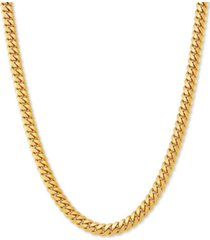 """cuban link 22"""" chain necklace in 18k gold-plated sterling silver"""