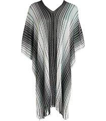 side fringe knit poncho