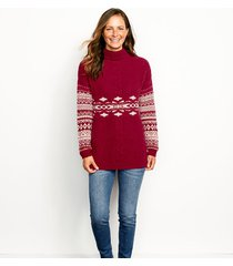 alpine fair isle and cable turtleneck sweater