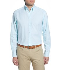 men's big & tall eton soft casual line contemporary fit oxford casual shirt, size 18 - green