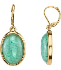 2028 14k gold-dipped semi-precious aventurine oval drop earrings