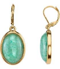 2028 14k gold-dipped semi-precious aventurine oval drop earrings