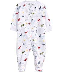 infant boy's kissy kissy aviators zip footie, size 0-3m - white