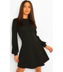 skater jurk met blouson mouwen, black