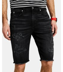"guess men's slim-fit ripped 11"" shorts"