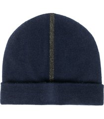 warm-me fine-knit cashmere beanie - blue