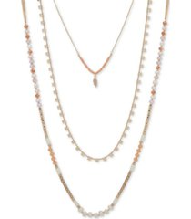"""lonna & lilly gold-tone beaded long three-row necklace, 36"""" + 3"""" extender"""