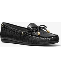 mk mocassino sutton in stampa coccodrillo - nero (nero) - michael kors