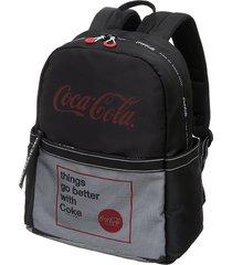 mochila casual feminina coca-cola preta