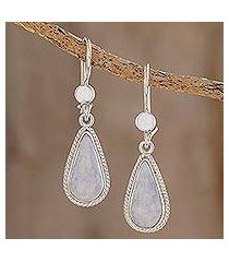 jade dangle earrings, 'lavender tear' (guatemala)