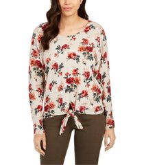 style & co petite printed tie-hem sweater, created for macy's