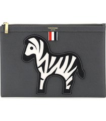 thom browne document pouch with zebra patch