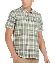 barbour men's tailored-fit textured tattersall plaid shirt