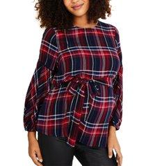 motherhood maternity plaid babydoll blouse