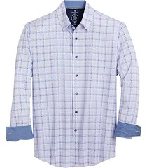 con. struct men's blue & pink check four-way stretch slim fit sport shirt - size: small