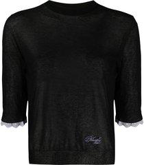 philosophy di lorenzo serafini sheer 3/4 sleeves pullover - black