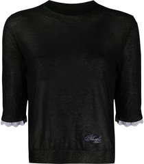philosophy di lorenzo serafini sheer 3/4 sleeves pullover - black