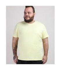 camiseta masculina plus size manga curta gola careca amarelo claro