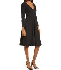 women's dress the population catrine fit & flare stretch crepe midi dress, size xx-small - black