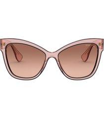 miu miu miu miu mu 08vs pink transparent sunglasses