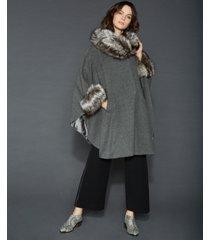 the fur vault fox-fur-trim cape