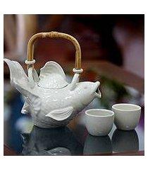 stoneware tea set, 'white fish legends' (set for 2) (indonesia)